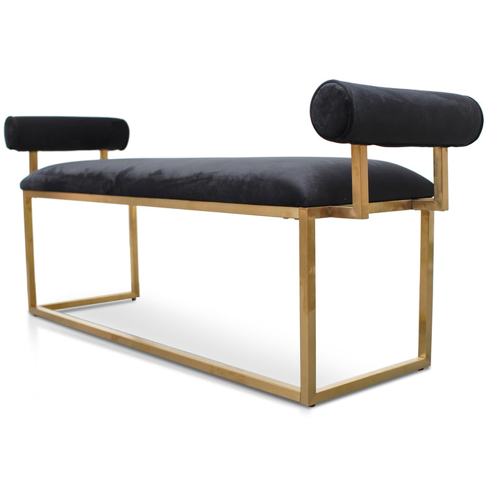 Florence Bench In Black Velvet - Brushed Gold Base