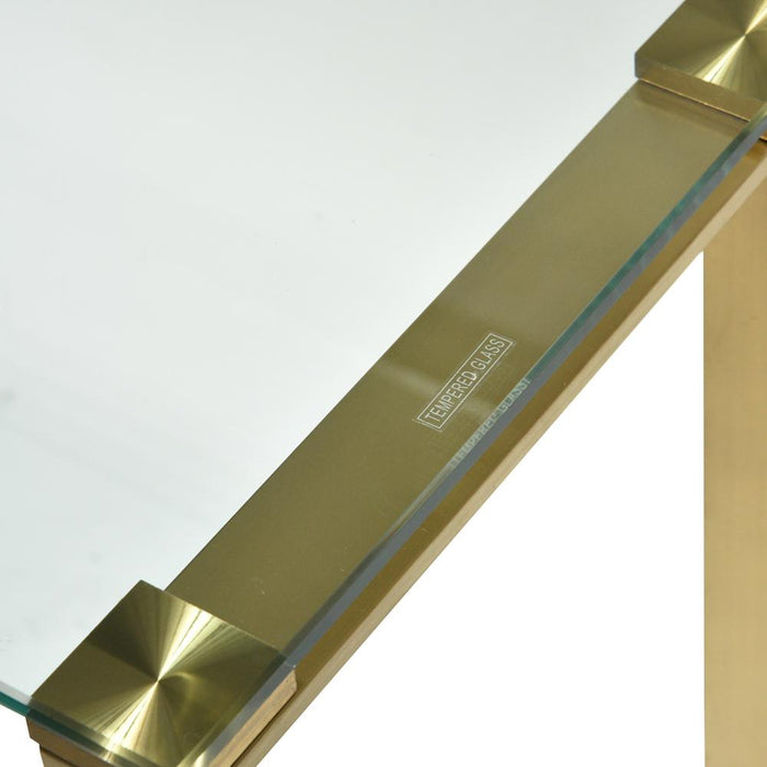 Freder Glass Console Table - Brushed Gold Base