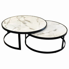 Gala Nest Marblite Coffee Table - White