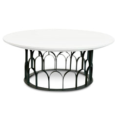 Gatsby 1m Round Coffee Table - White - Black