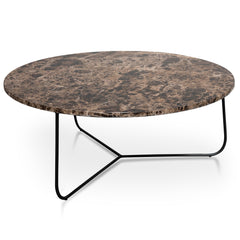 Glacier 80cm Brown Marble Coffee Table