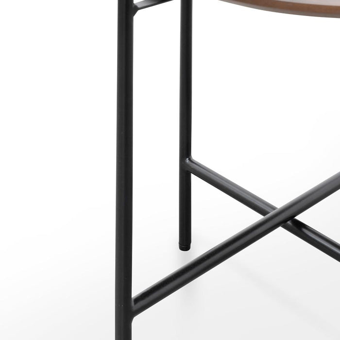 Hale Side Table - Walnut - Black Legs