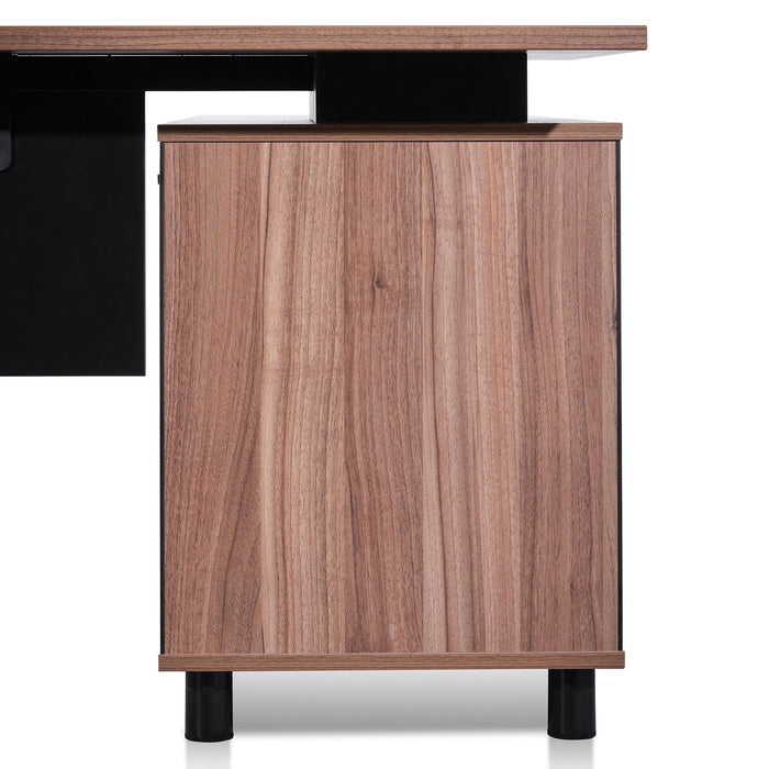Halo 1.8m Executive Desk Left Return with Black Legs - Walnut