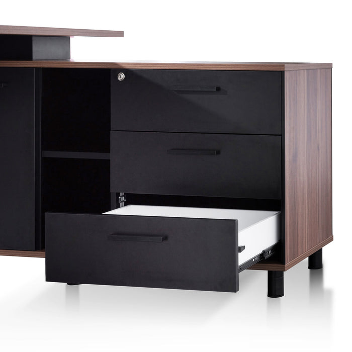 Halo 1.8m Executive Desk Right Return with Black Legs - Walnut