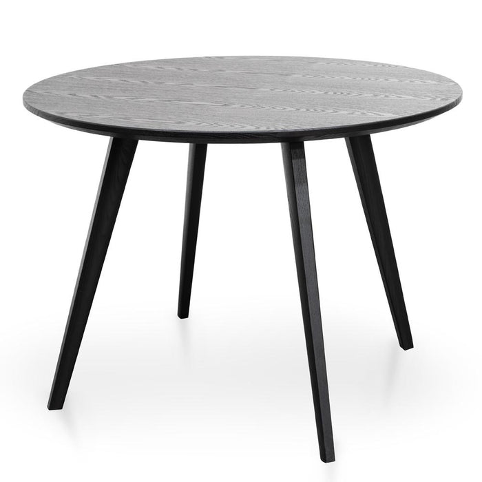 Halo 100cm Round Dining Table - Black Veneer Top - Black Legs