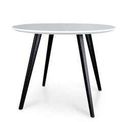 Halo 100cm Round Dining Table - White Top - Black Legs