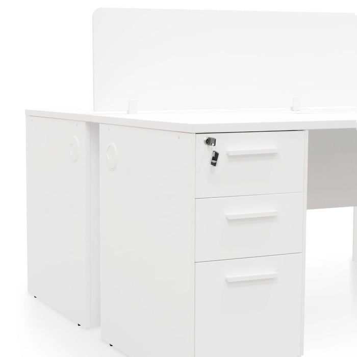Halo 2 Seater 160cm Office Desk  With Privacy Screen - White - Upgraded Legs
