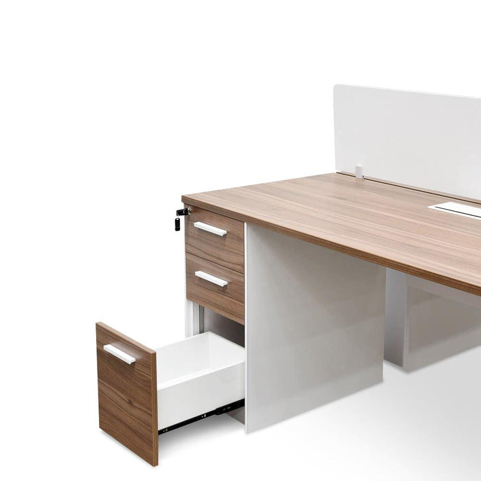 Halo 2 Seater 160cm Walnut Office Desk With Privacy Screen