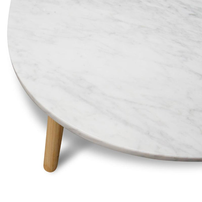 Hamilton 110cm Marble Coffee Table - Natural Base
