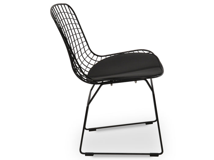 Hank Bertoia Dining Chair- Black Cushion