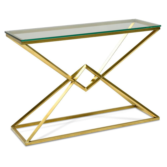 Hayes 1.2m Glass Console Table - Gold Base