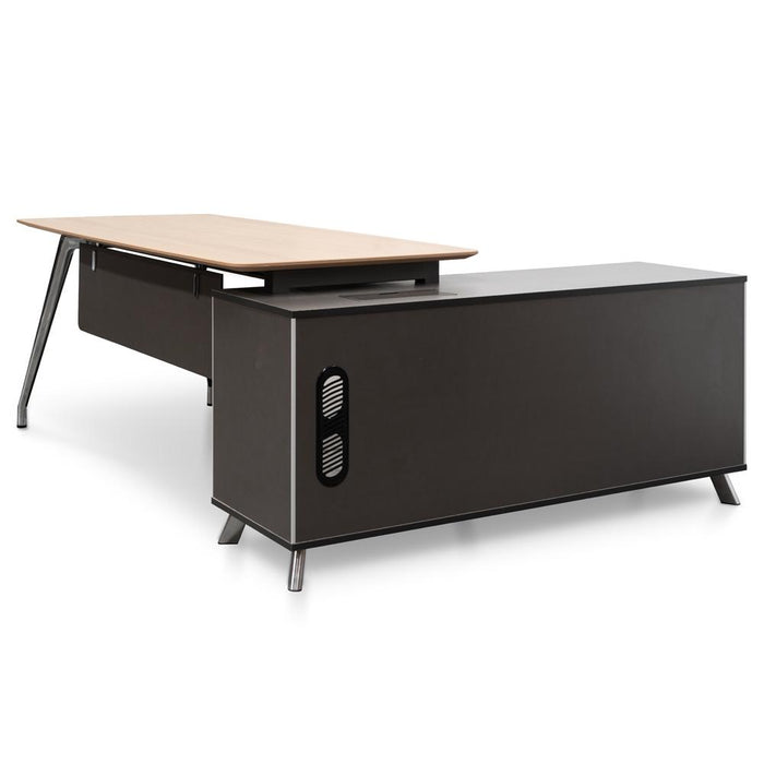 Hayes 2m Left Return Office Desk - Natural - Black