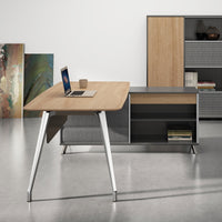 Hayes 2m Right Return Office Desk - Natural - Black