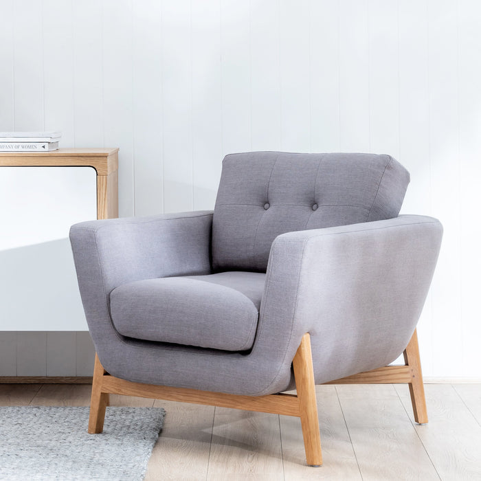 Helgrim Fabric Armchair - Steel Grey