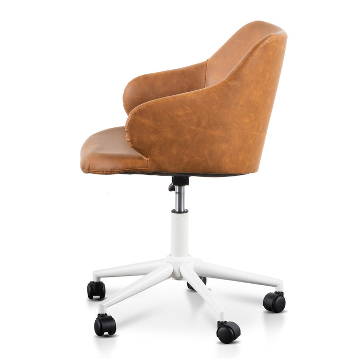 Hester Office Chair - Tan with White Base