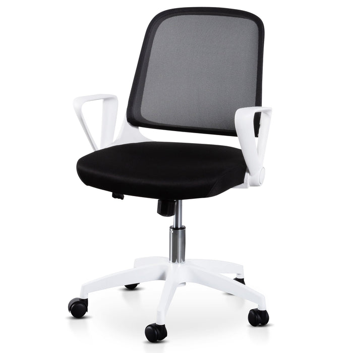 Heston Black Office Chair - White Arm and Base