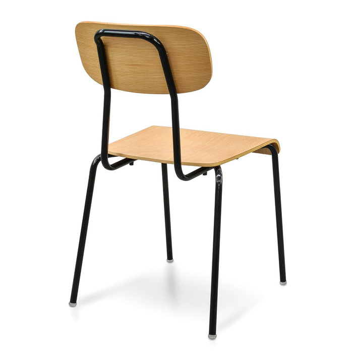 Hexton Dining Chair - Natural Plywood - Black Frame