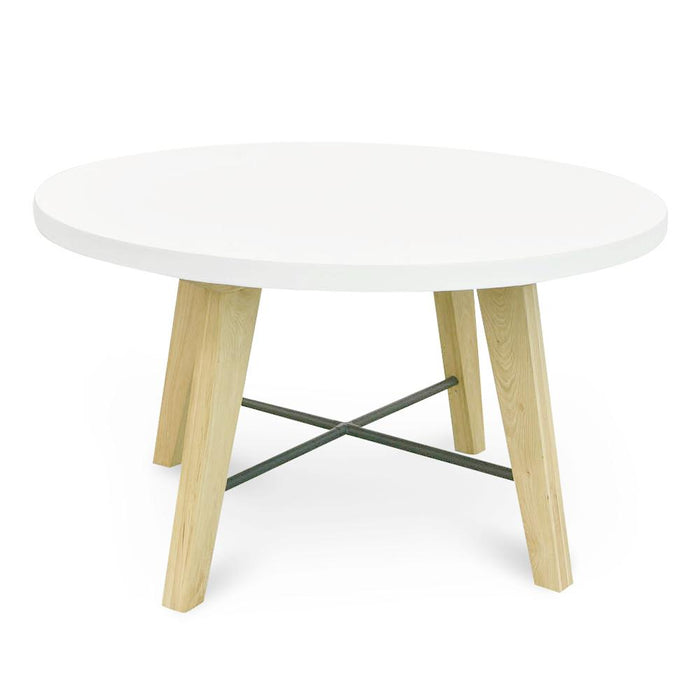 Hogan 1.4M Round Dining Table - White - Natural