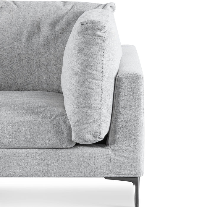 Huber 3 Fabric Seater Sofa - Gull Grey with Black Legs