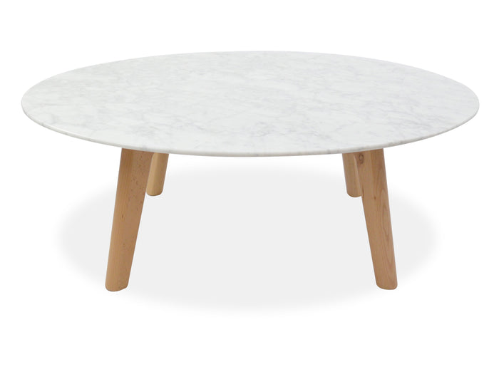 Hunter 100cm Marble Coffee Table - Natural