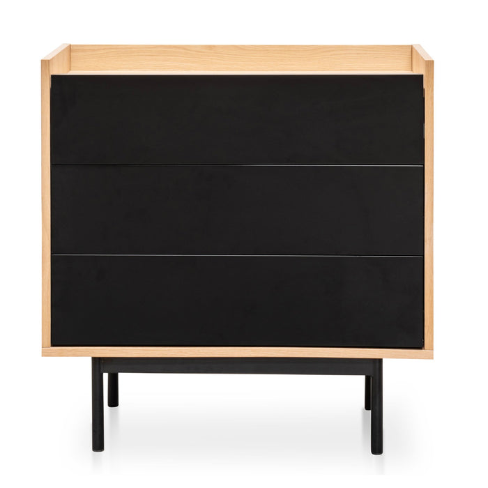 Huston Natural 3 Drawer Chest Natural - Black Drawers