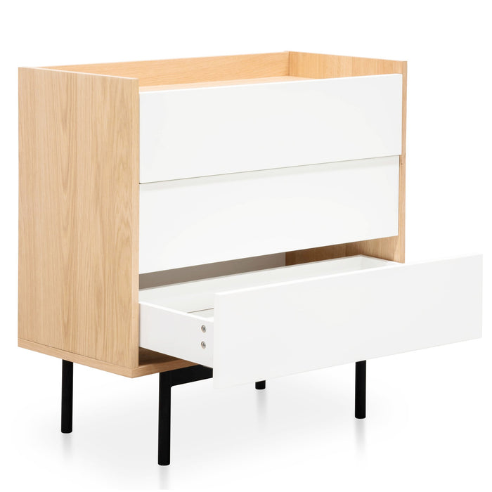 Huston Natural 3 Drawer Chest - White Drawers