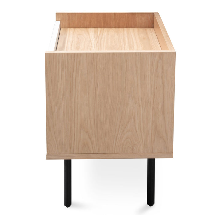 Huston Wooden Bedside Table Natural - White