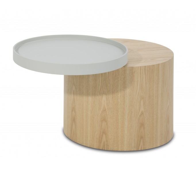 Rob Ash Veneer Side Table with Trays - Light Grey