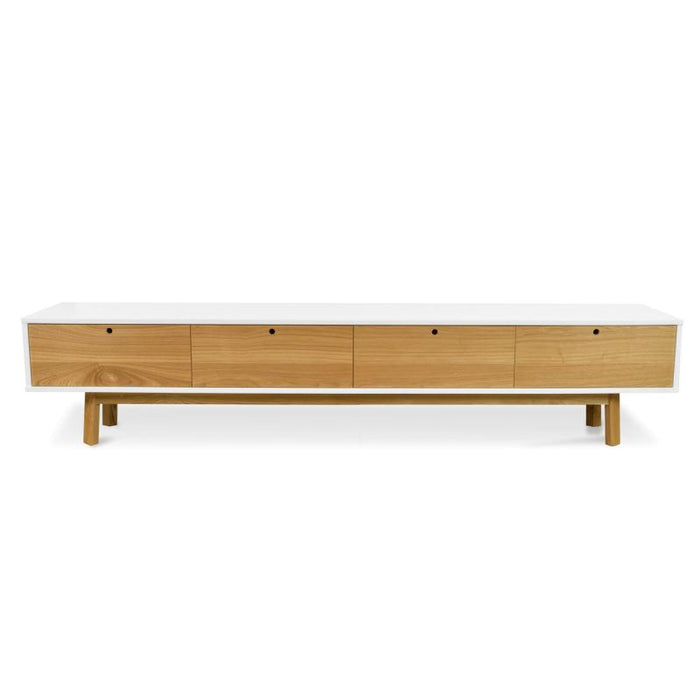 Irene 2.2m Scandinavian TV  Unit - White - Natural