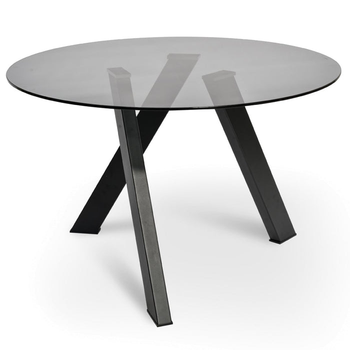 Isaac 1.2m Dining Table - Smoke Grey Glass - Black Base