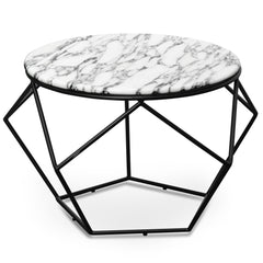 Ivan 72cm Marble Coffee Table - Matt Black Base