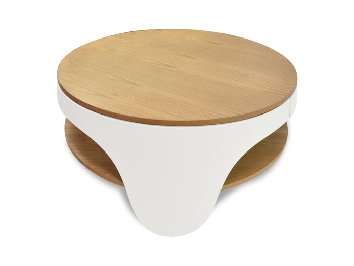 Jackson 82cm Wooden Round Coffee Table - Natural Top and White Leg