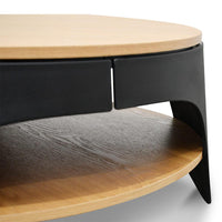 Jackson 82cm Wooden Round Coffee Table - Natural Top and Black Leg