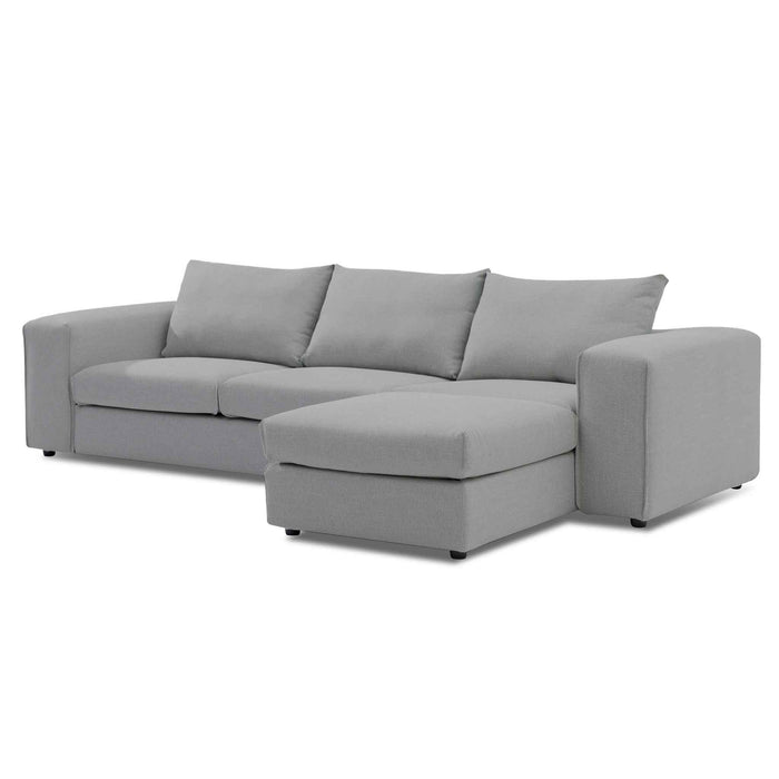 Jamaal 4 Seater Right Chaise Sofa with Ottoman - Graphite Grey