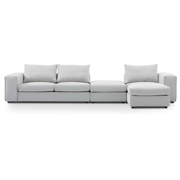 Jamaal 4 Seater Right Chaise Sofa with Ottoman - Light Texture Grey