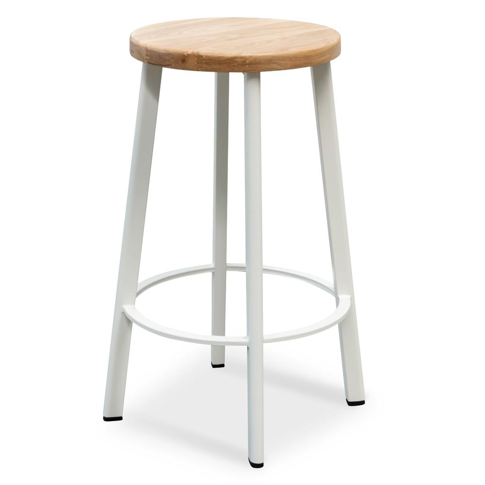 Wondrous James 65Cm Bar Stool Natural Timber Seat White Frame Squirreltailoven Fun Painted Chair Ideas Images Squirreltailovenorg