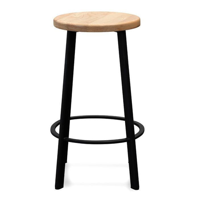 James 65cm Bar Stool -With Natural Timber Seat - Black Frame