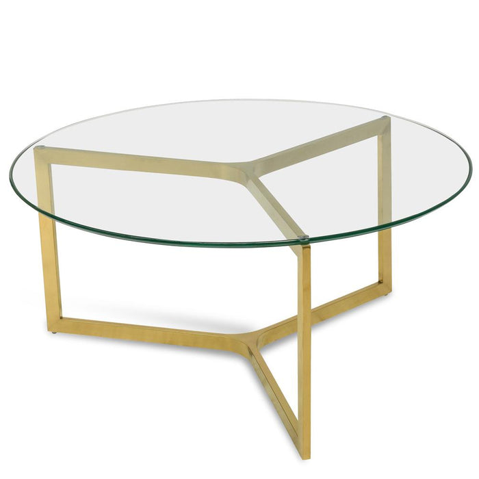 Janet 85cm Glass Round Coffee Table - Gold Base
