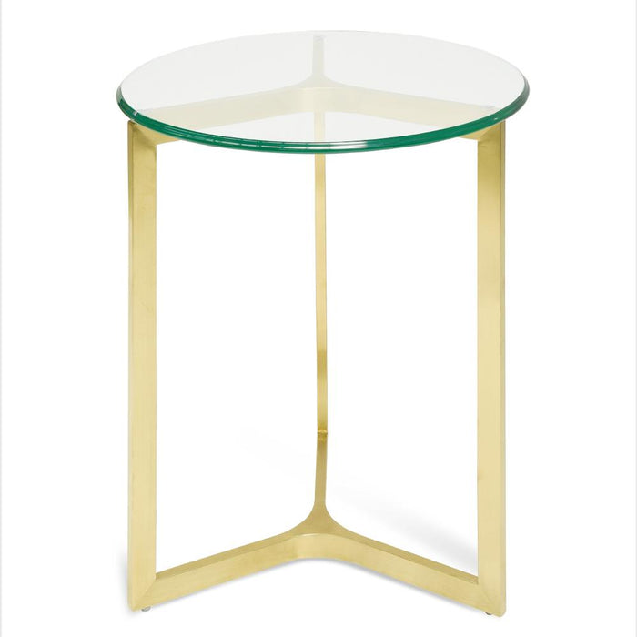 Janet Round Glass Side Table - Gold Base