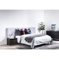 Jasper Fabric Wide Queen Bed Frame - Cement Grey