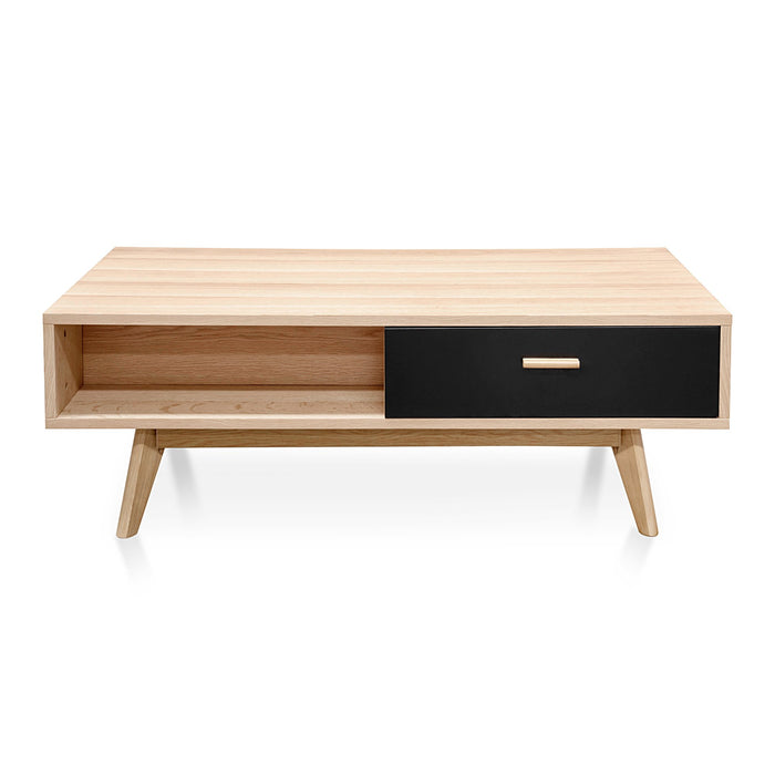 Jerald 120cm Wooden Coffee Table In Natural - Black