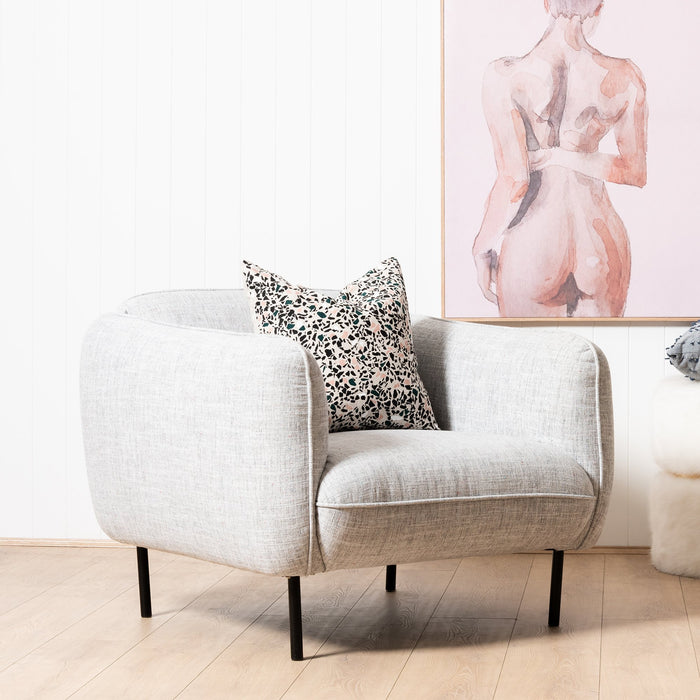 Joanna Armchair in Light Spec Grey - Black Metal Legs