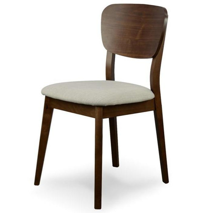 Johansen Veneer Dining Chair - Fabric Seat - Walnut