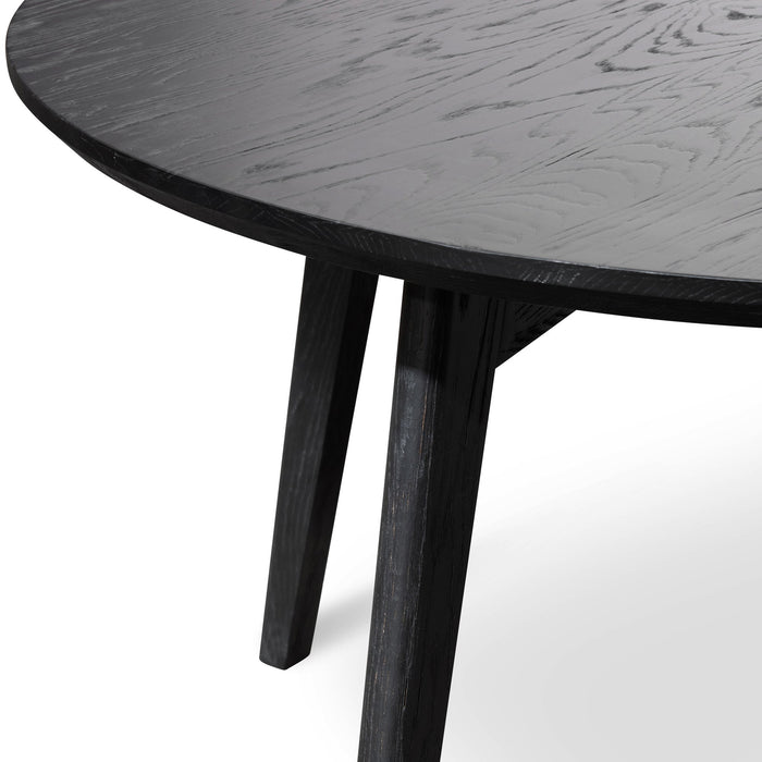 Juan 1.25m Round Wooden Dining Table - Black