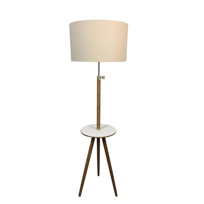 Kade Tripod Floor Lamp with Extendable Beige Linen Shade