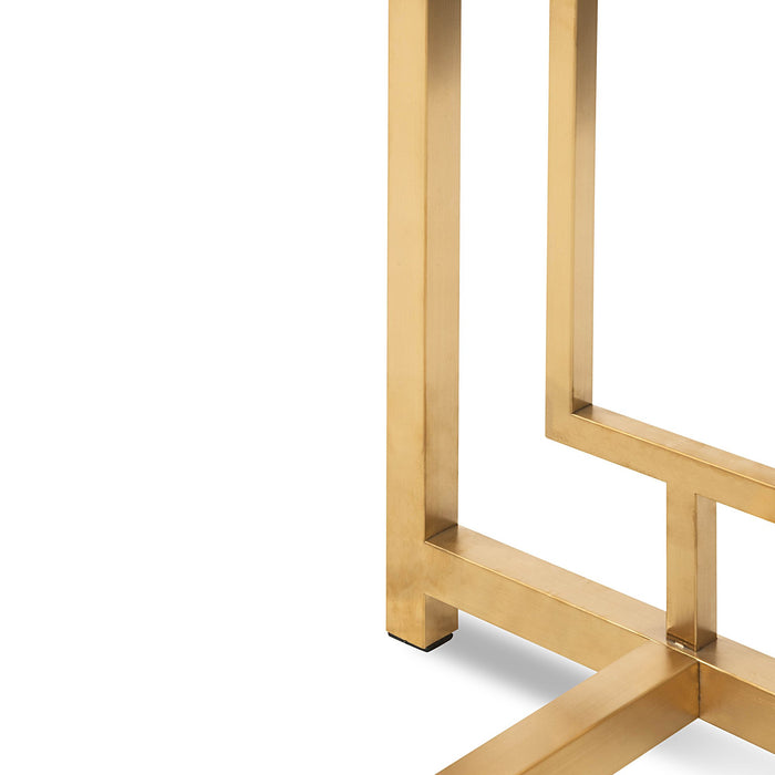 Kater Glass Console table - Brushed Gold Base