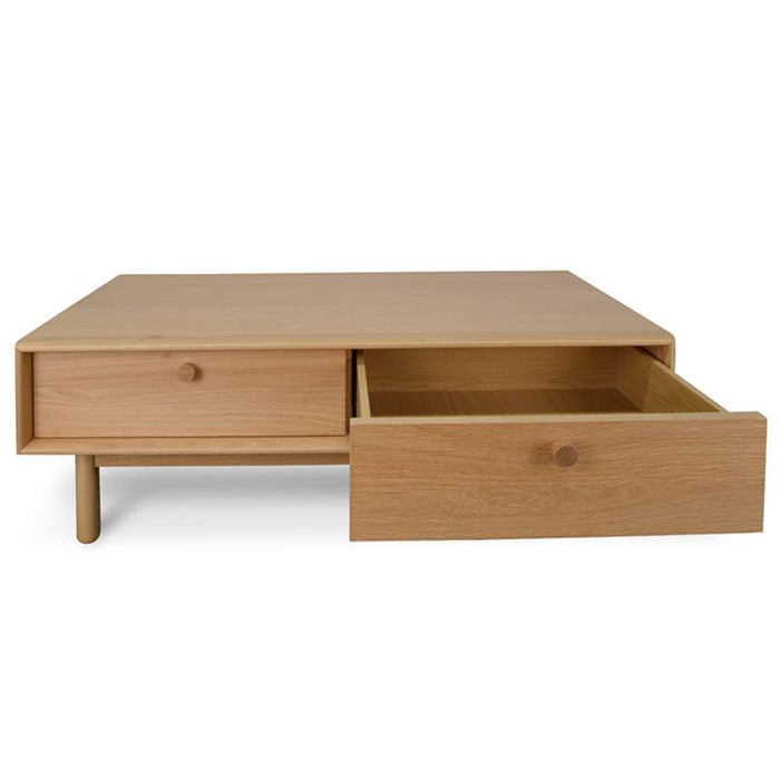 Kenston 110cm Wooden Coffee Table With Drawers - Natural