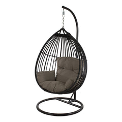 Koala Wicker Outdoor Hanging Egg Chair - Black