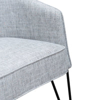 Lena Fabric Armchair - Light Spec Grey with Black Legs