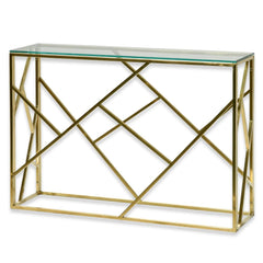 Lenard Glass Console Table - Brushed Gold Base